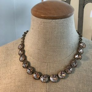 Brass Statement necklace Champagne color crystals